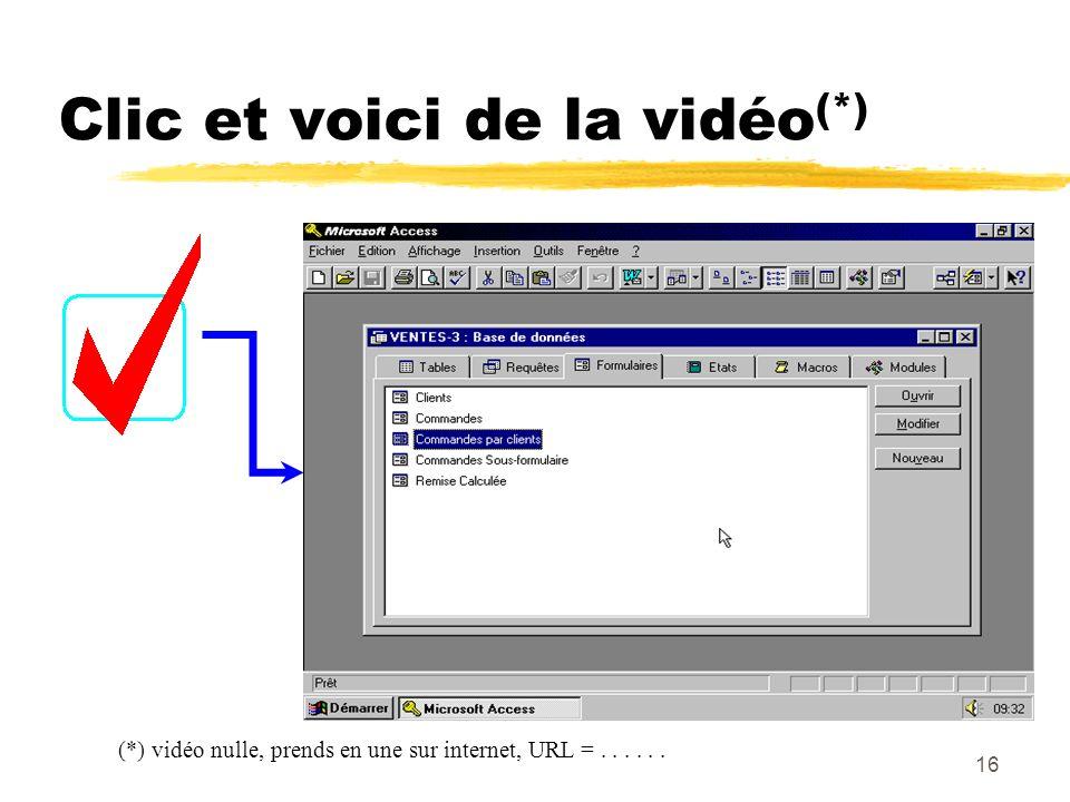 Clic et voici de la vidéo(*)