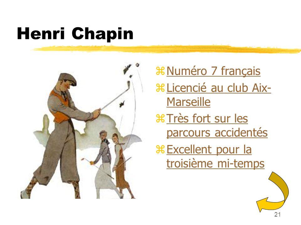 Henri Chapin Numéro 7 français Licencié au club Aix-Marseille