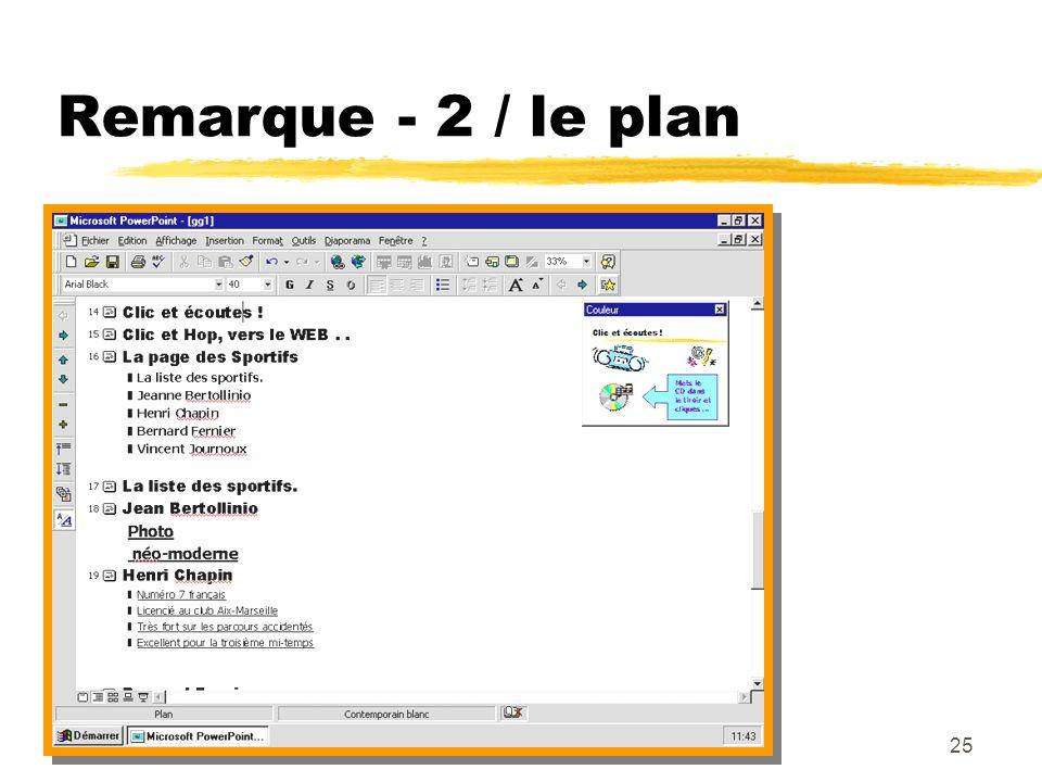 Remarque - 2 / le plan