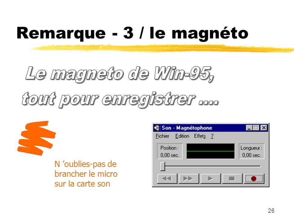 Remarque - 3 / le magnéto Le magneto de Win-95,