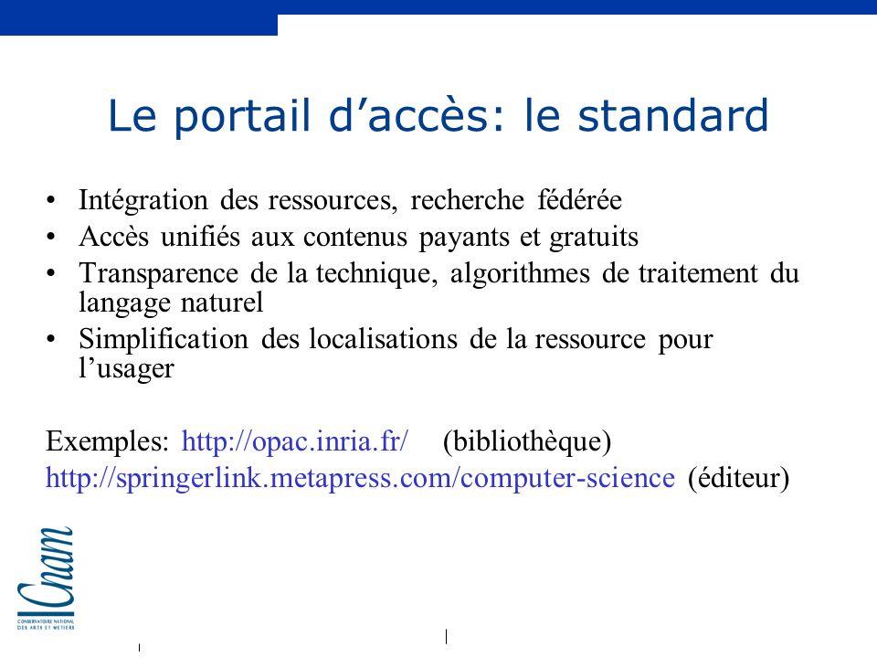 Le portail d'accès: le standard