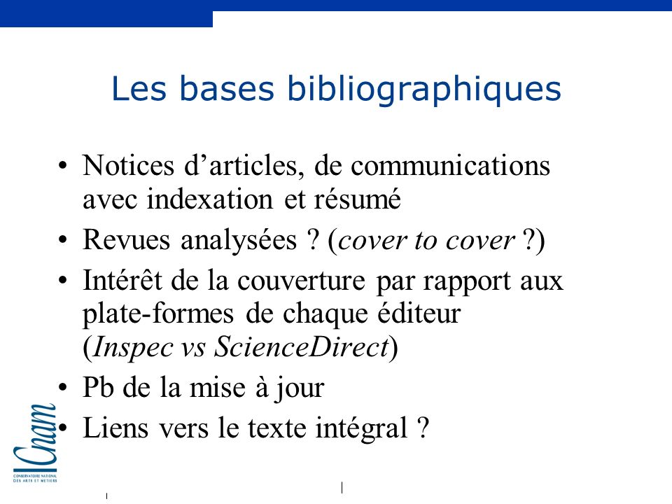 Les bases bibliographiques