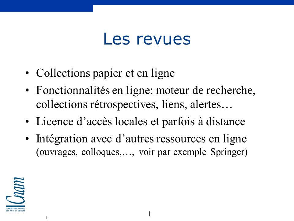 Les revues Collections papier et en ligne