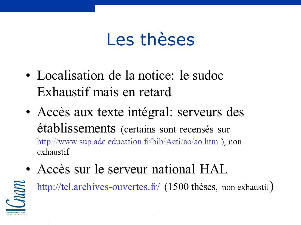 Les thèses Localisation de la notice: le sudoc Exhaustif mais en retard.