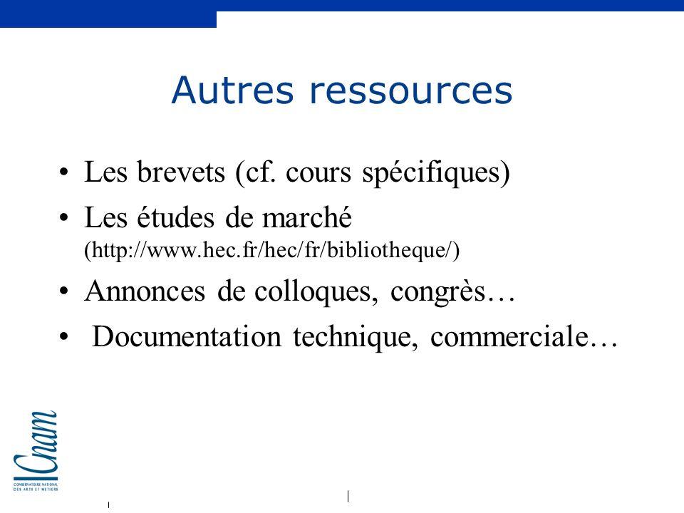 Autres ressources Les brevets (cf. cours spécifiques)