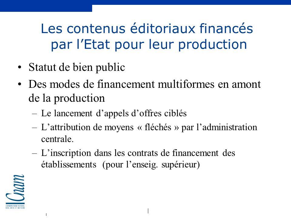Les contenus éditoriaux financés par l'Etat pour leur production