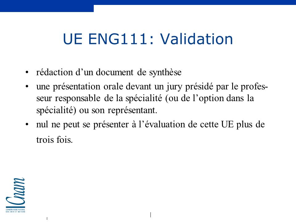 UE ENG111: Validation rédaction d'un document de synthèse