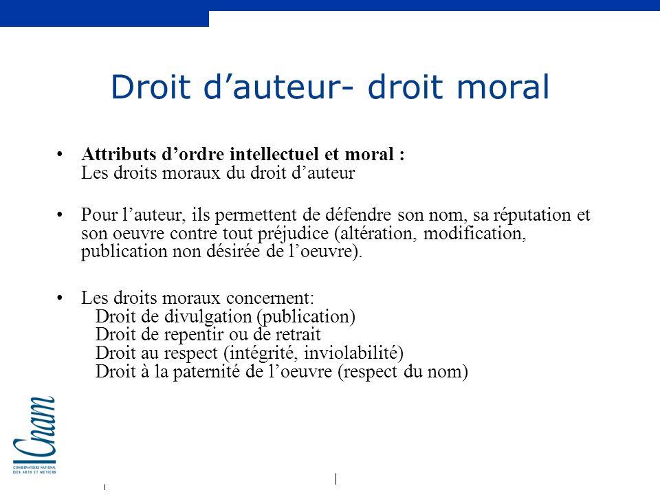 Droit d'auteur- droit moral