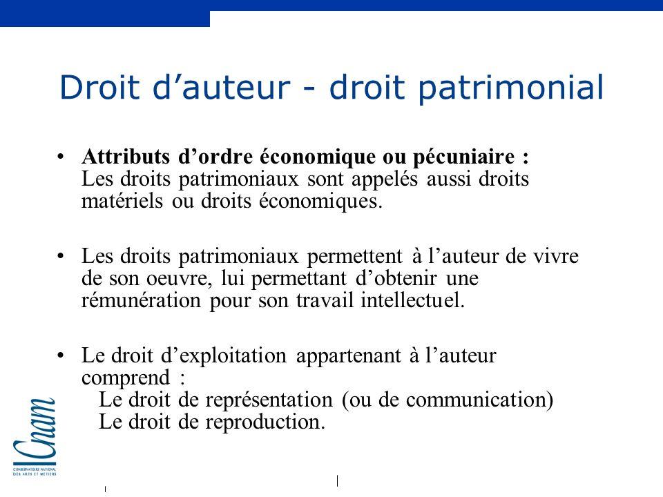 Droit d'auteur - droit patrimonial