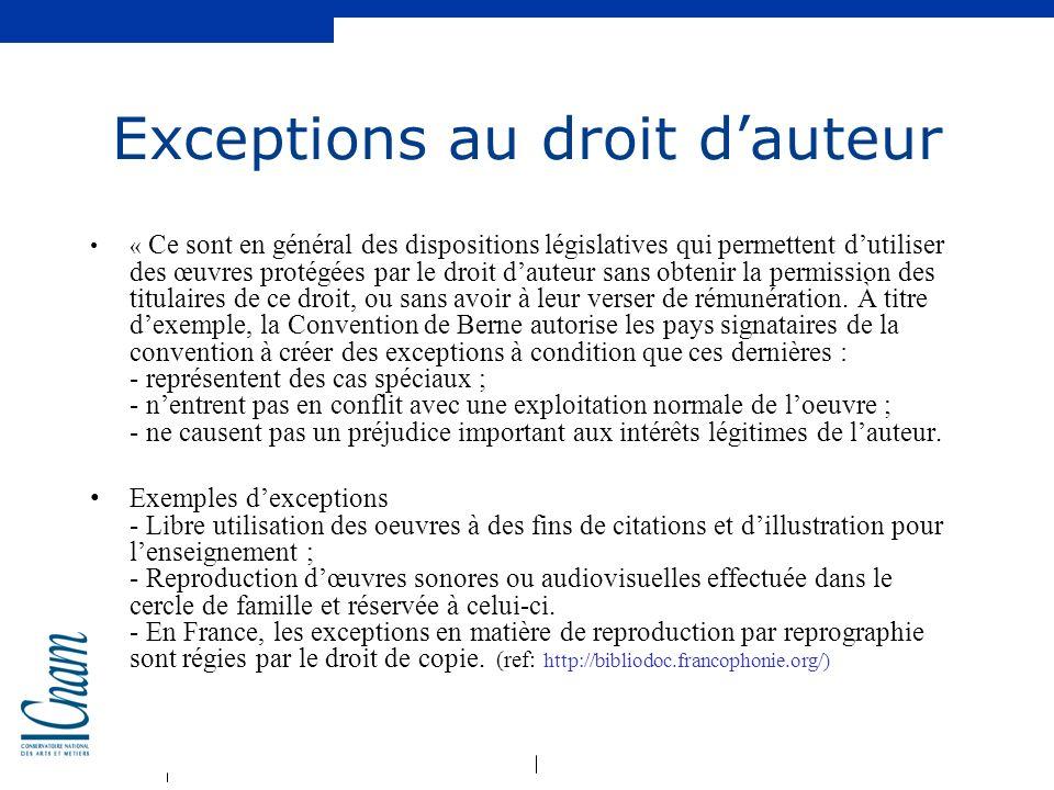 Exceptions au droit d'auteur