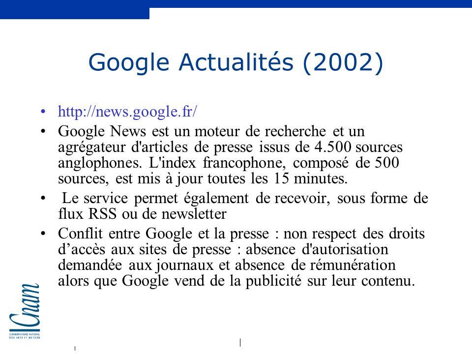 Google Actualités (2002) http://news.google.fr/