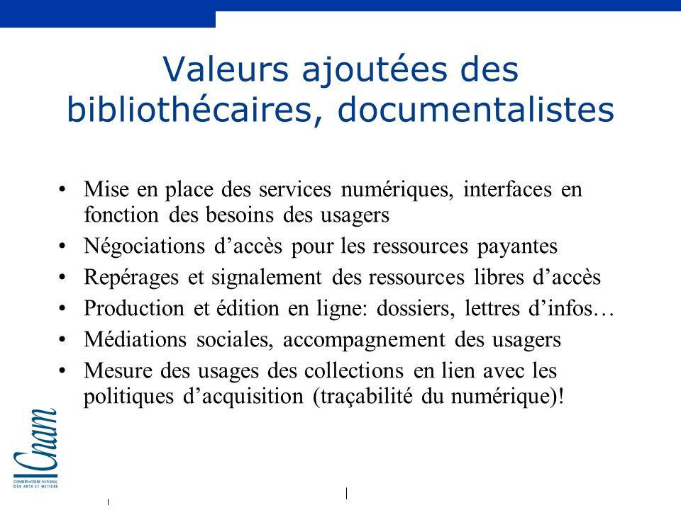 Valeurs ajoutées des bibliothécaires, documentalistes