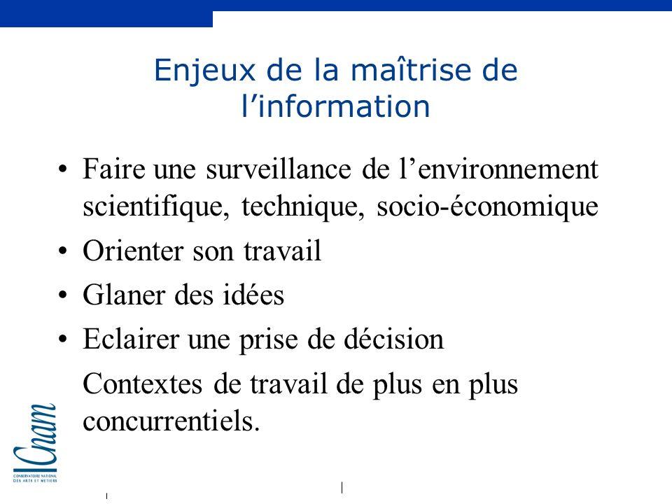 Enjeux de la maîtrise de l'information