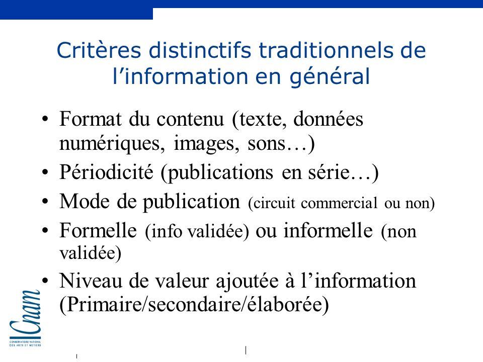 Critères distinctifs traditionnels de l'information en général