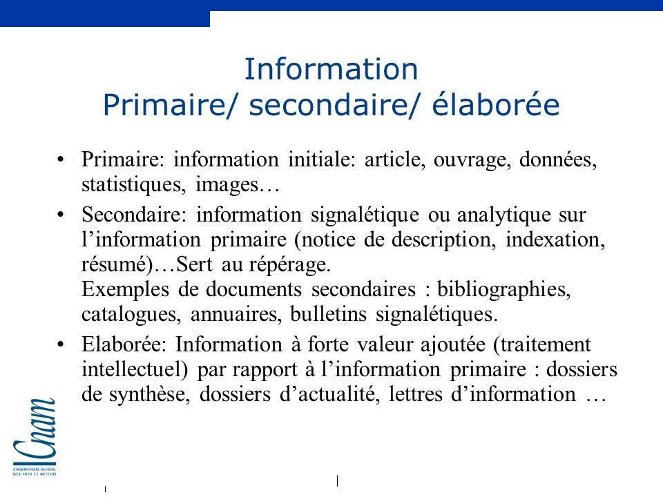 Information Primaire/ secondaire/ élaborée