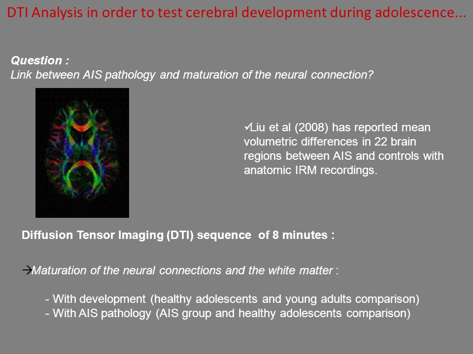 DTI Analysis in order to test cerebral development during adolescence...