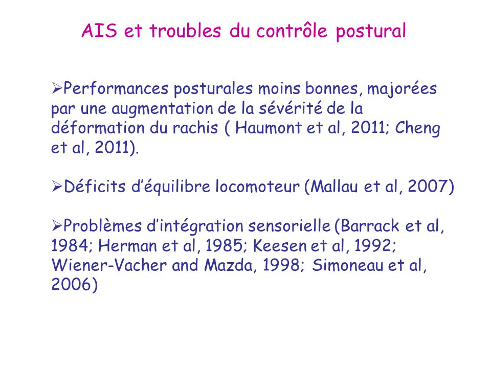 AIS et troubles du contrôle postural