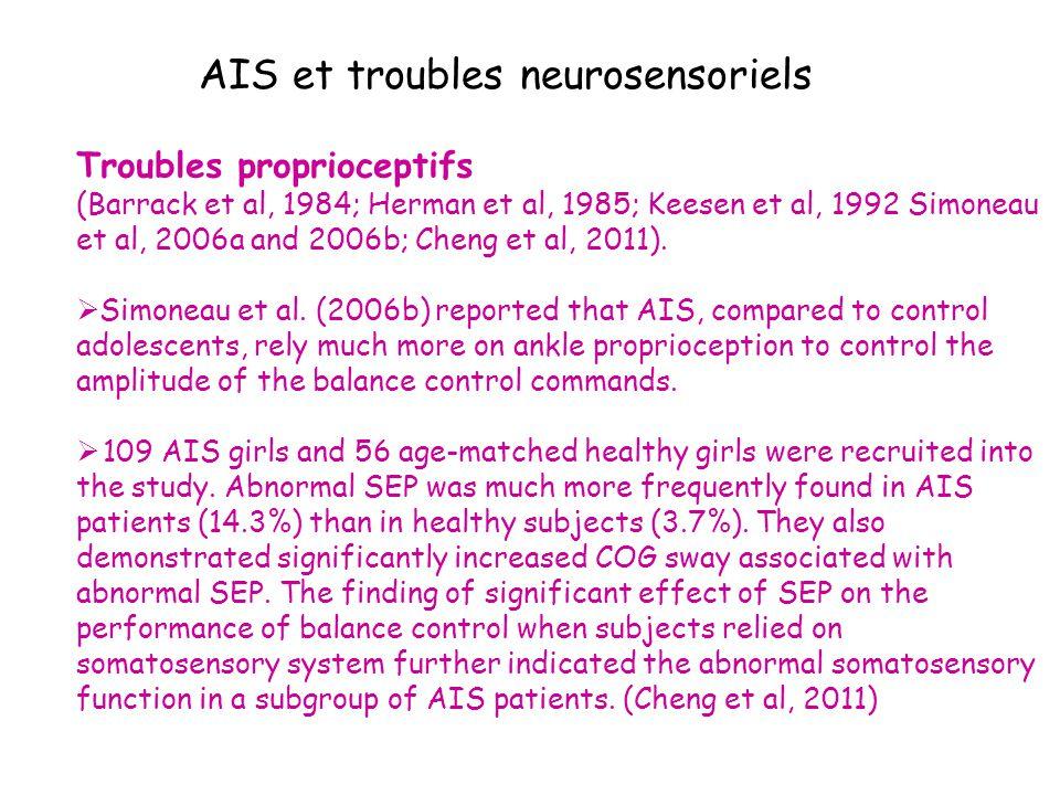 AIS et troubles neurosensoriels