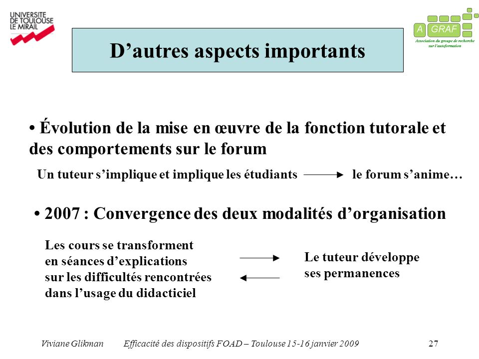 D'autres aspects importants