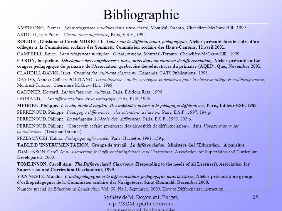 BibliographieAMSTRONG, Thomas. Les intelligences multiples dans votre classe, Montréal-Toronto, Chenelière/McGraw-Hill, 1999.