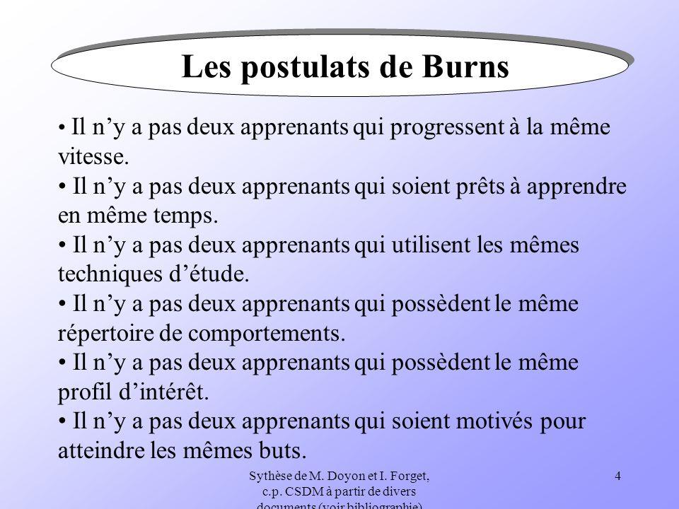 Les postulats de BurnsIl n'y a pas deux apprenants qui progressent à la même vitesse.