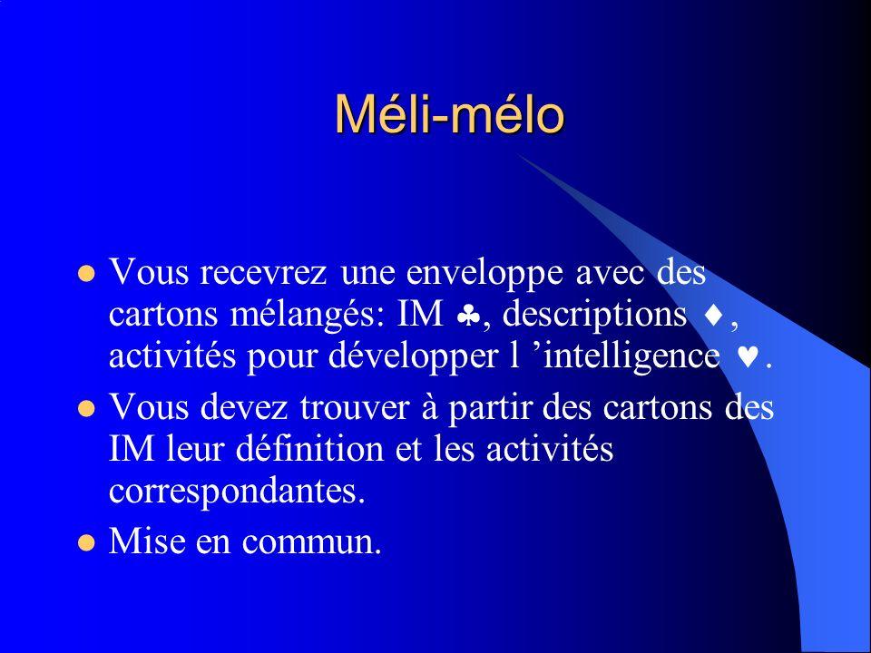 Méli-mélo Vous recevrez une enveloppe avec des cartons mélangés: IM , descriptions , activités pour développer l 'intelligence .