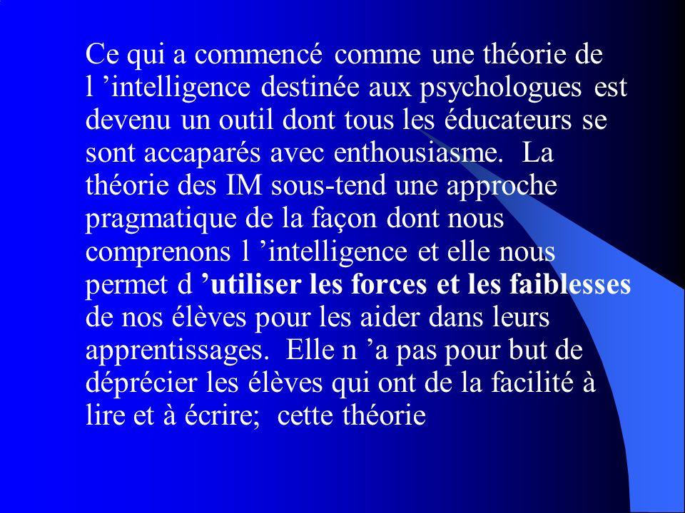 Ce qui a commencé comme une théorie de l 'intelligence destinée aux psychologues est devenu un outil dont tous les éducateurs se sont accaparés avec enthousiasme.
