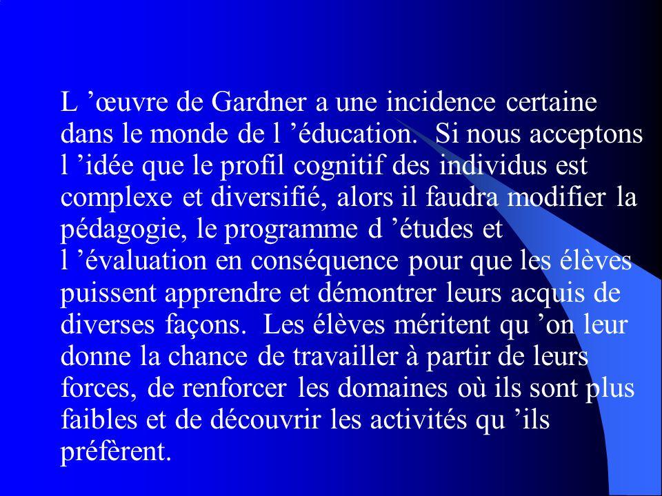 L 'œuvre de Gardner a une incidence certaine dans le monde de l 'éducation.