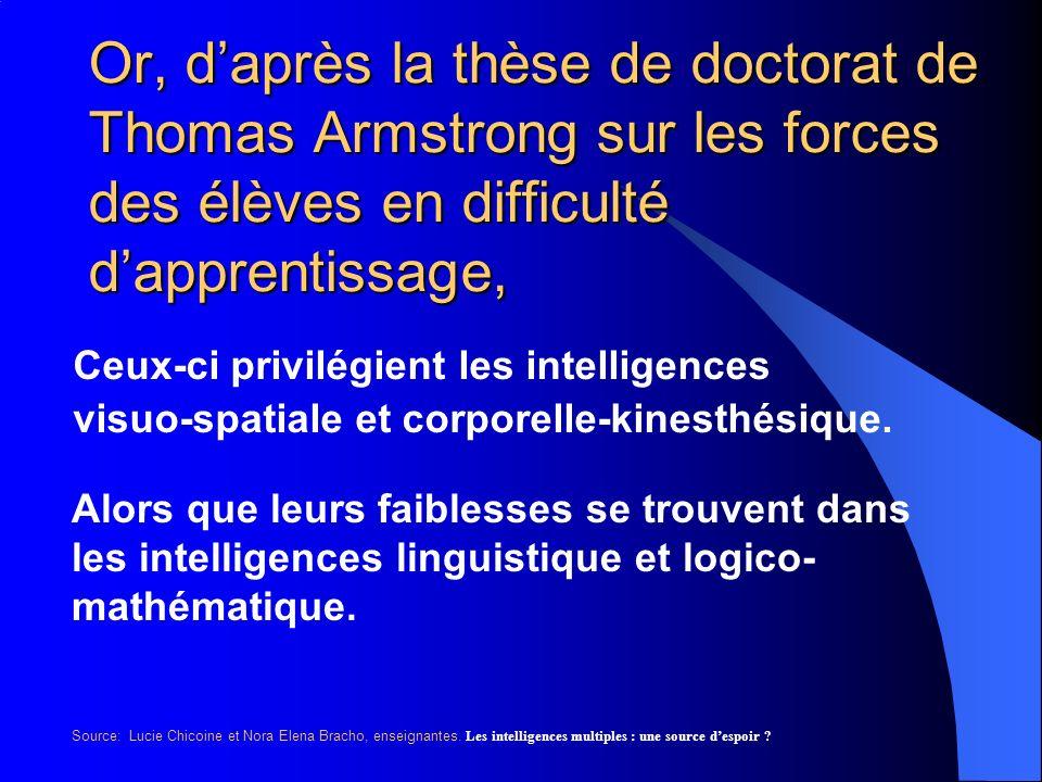 Or, d'après la thèse de doctorat de Thomas Armstrong sur les forces des élèves en difficulté d'apprentissage,