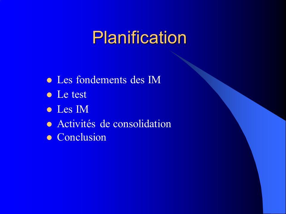 Planification Les fondements des IM Le test Les IM