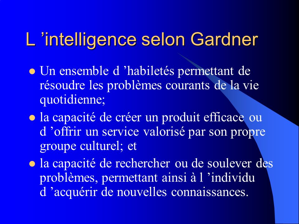 L 'intelligence selon Gardner
