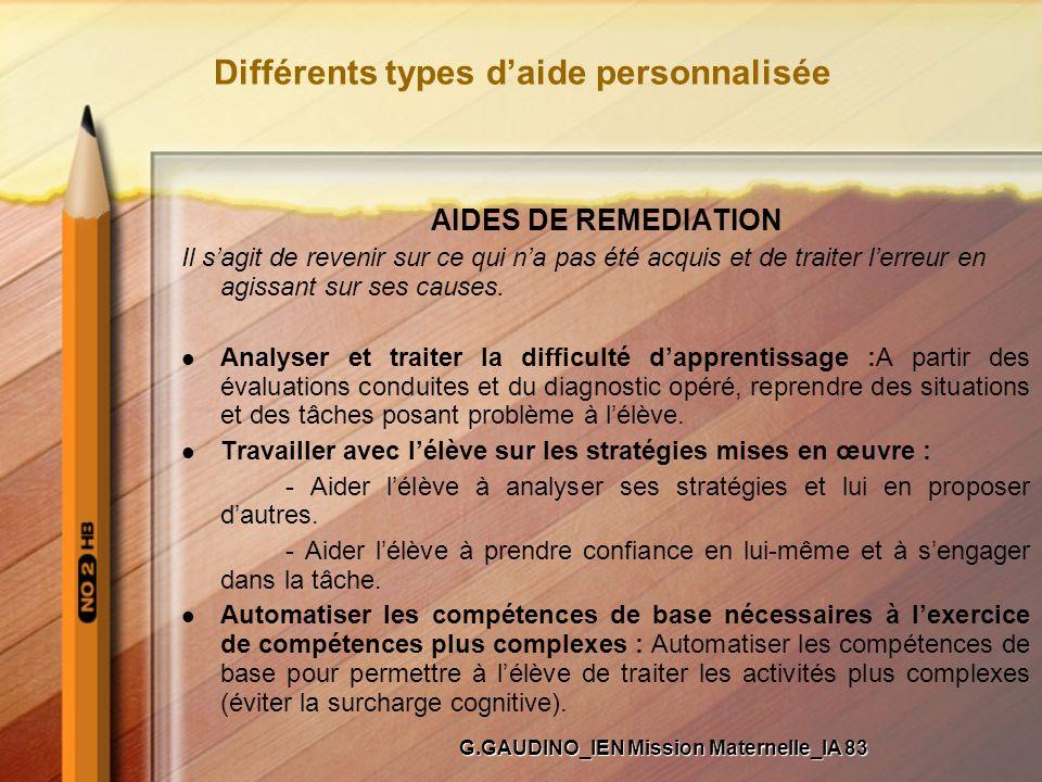 Différents types d'aide personnalisée