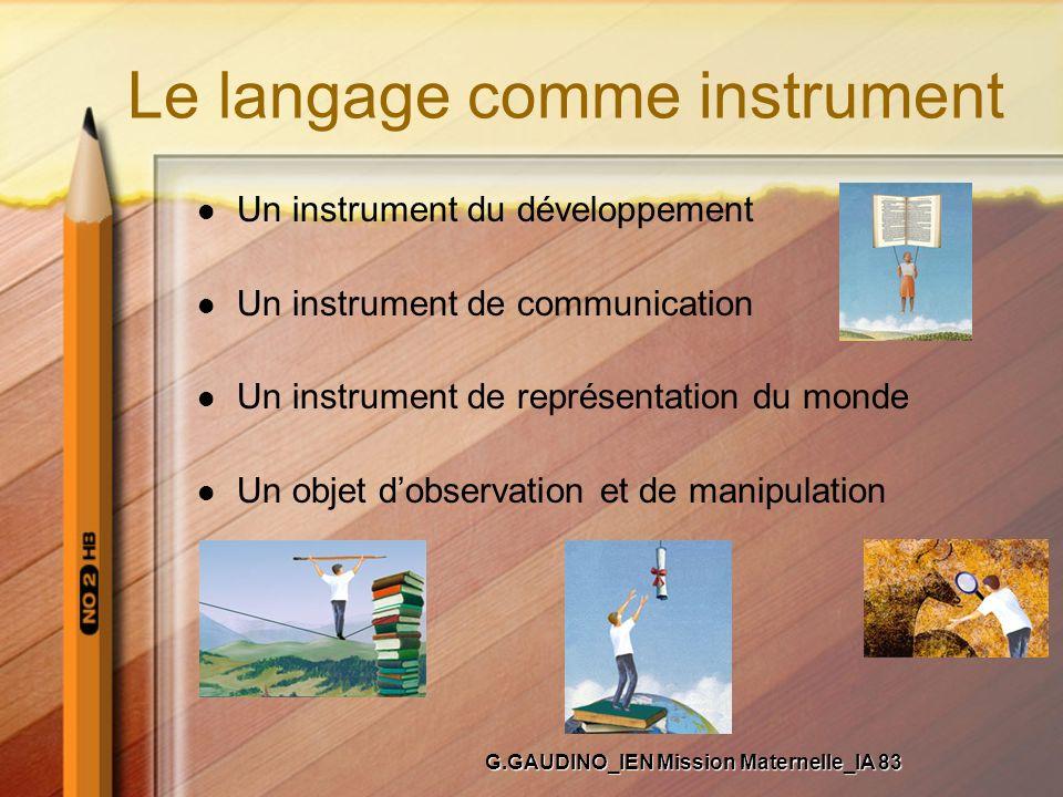 Le langage comme instrument