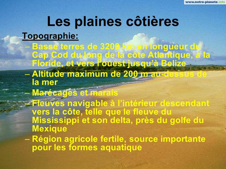 Les plaines côtières Topographie:
