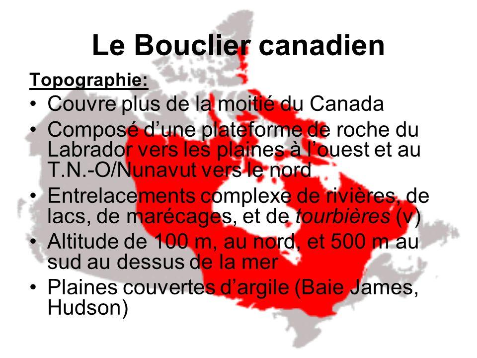 Le Bouclier canadien Couvre plus de la moitié du Canada