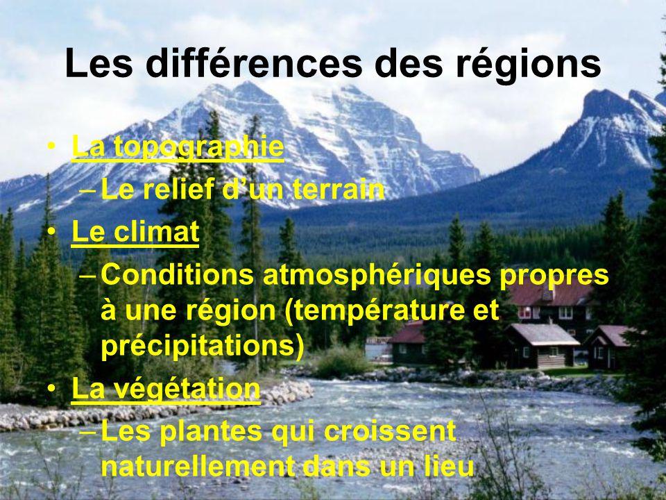 Les différences des régions