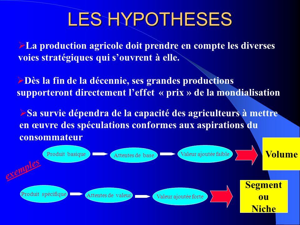 LES HYPOTHESES La production agricole doit prendre en compte les diverses voies stratégiques qui s'ouvrent à elle.