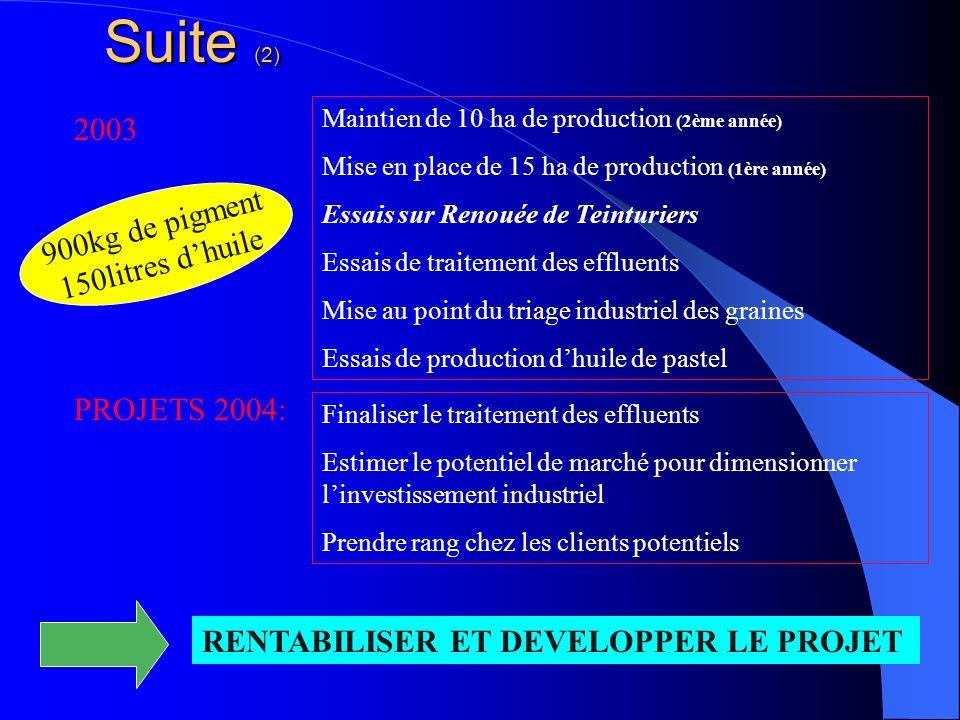 Suite (2) 2003 900kg de pigment 150litres d'huile PROJETS 2004: