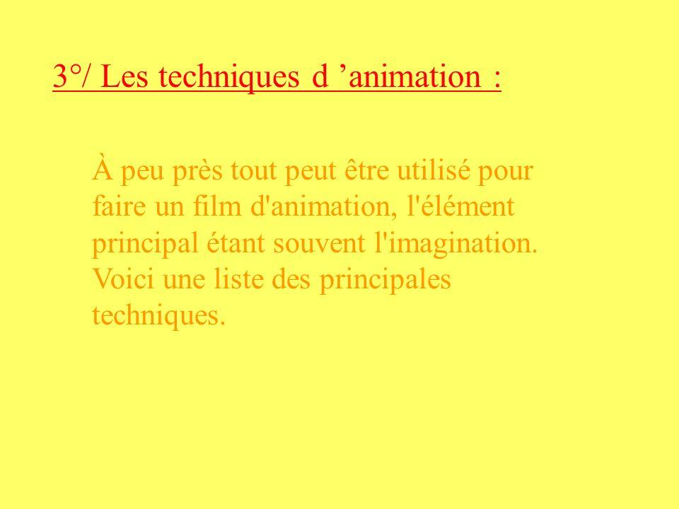 3°/ Les techniques d 'animation :