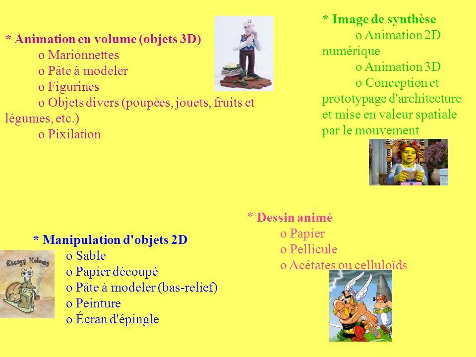 * Image de synthèse o Animation 2D numérique. o Animation 3D.