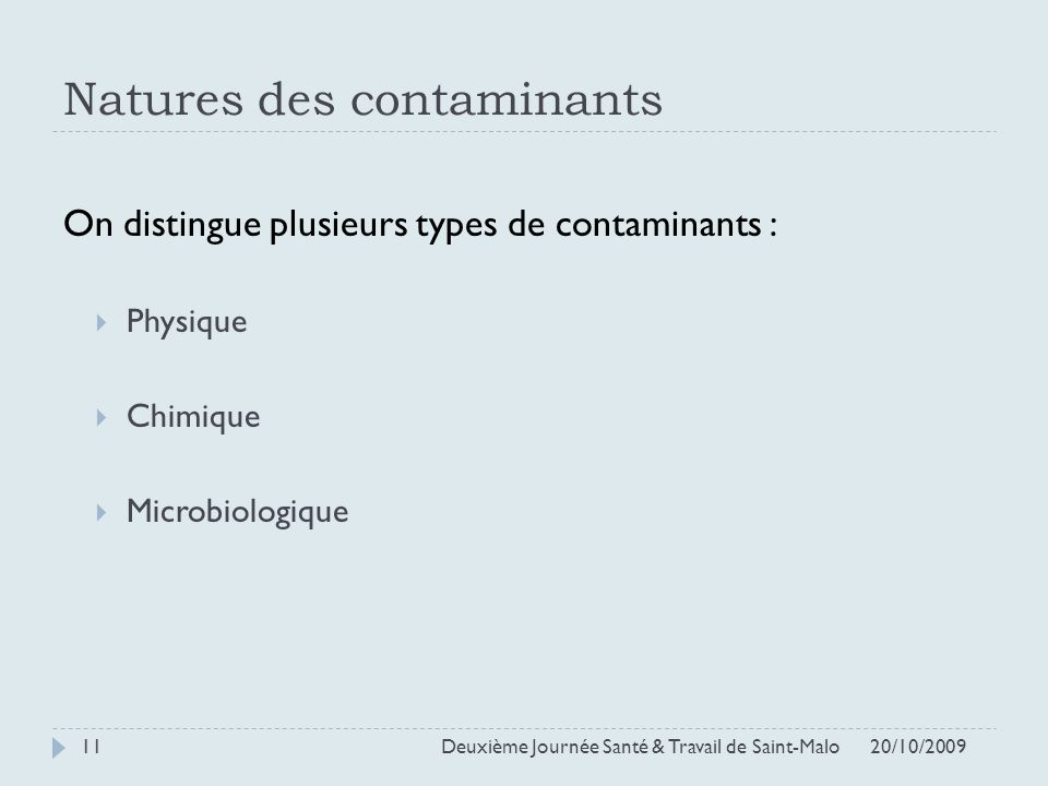 Natures des contaminants
