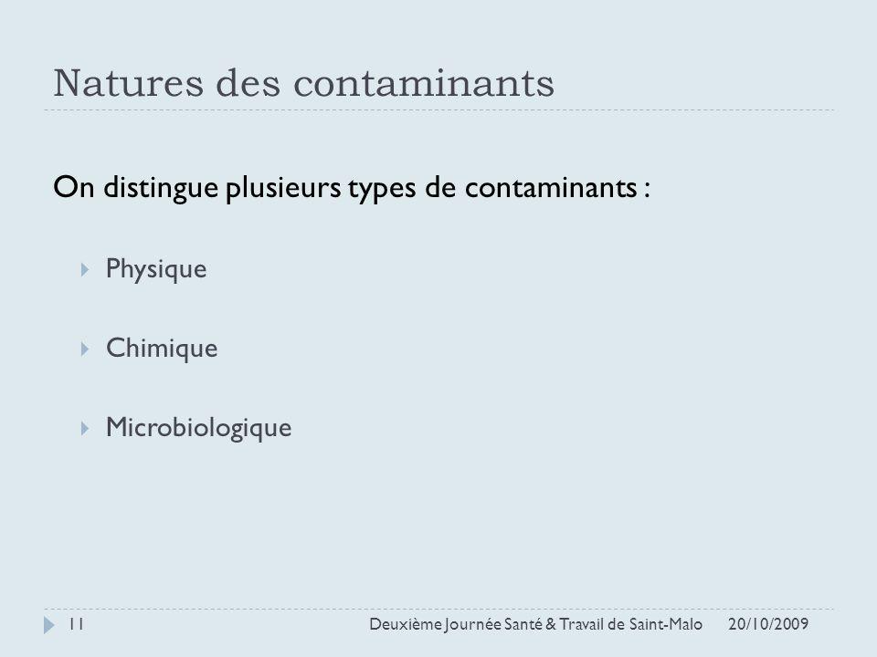 Natures des contaminants