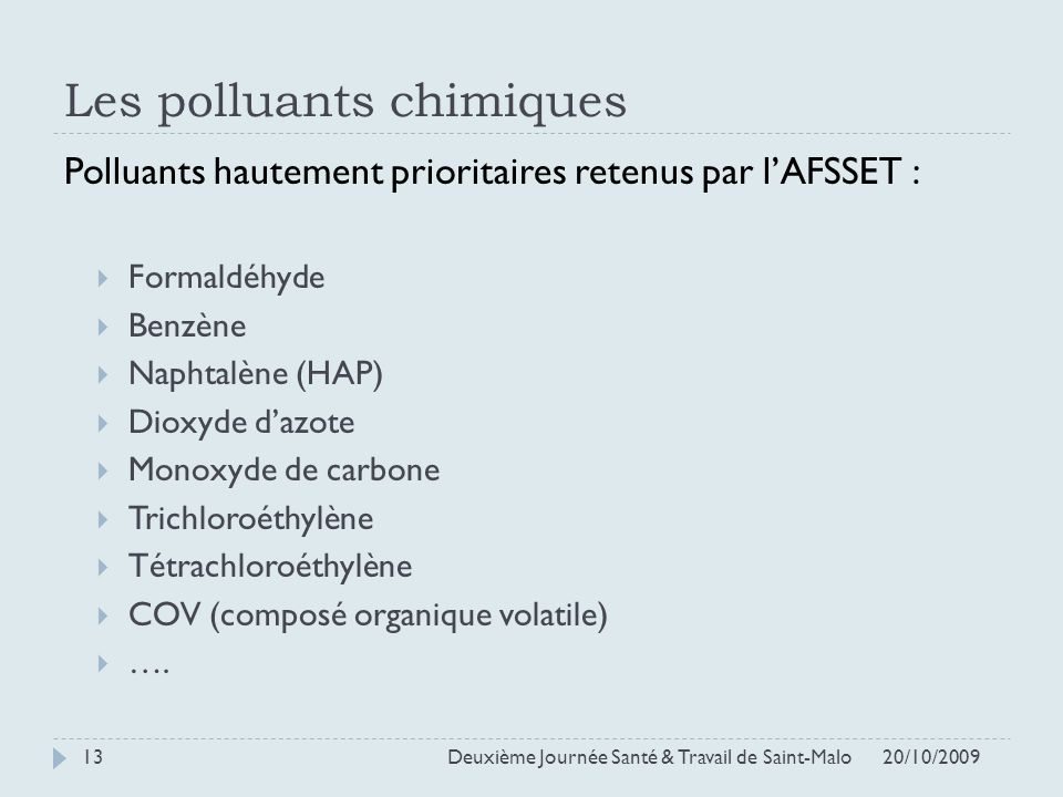 Les polluants chimiques