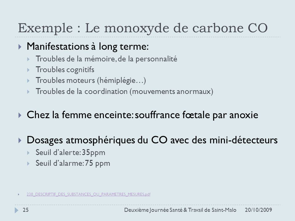 Exemple : Le monoxyde de carbone CO
