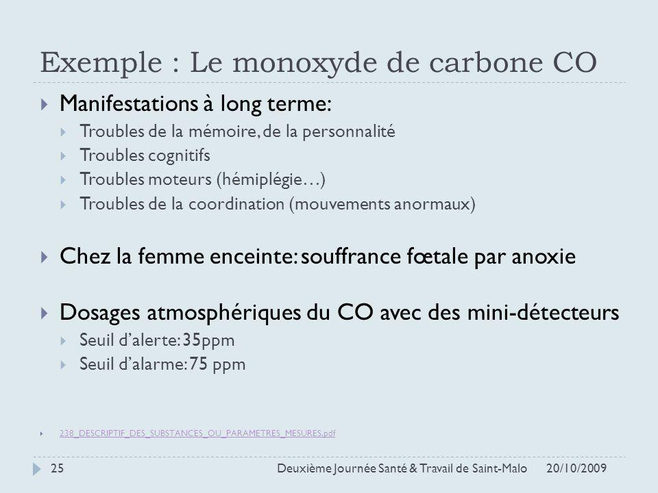 Exemple : Le monoxyde de carbone CO