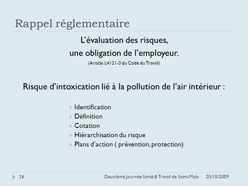 Rappel réglementaire L'évaluation des risques,