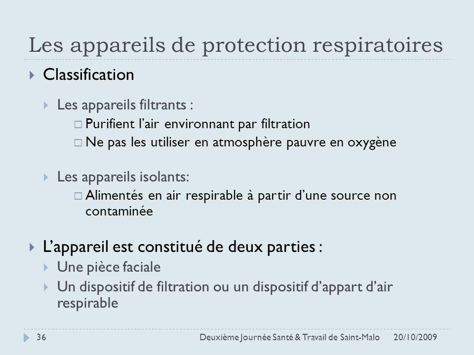 Les appareils de protection respiratoires