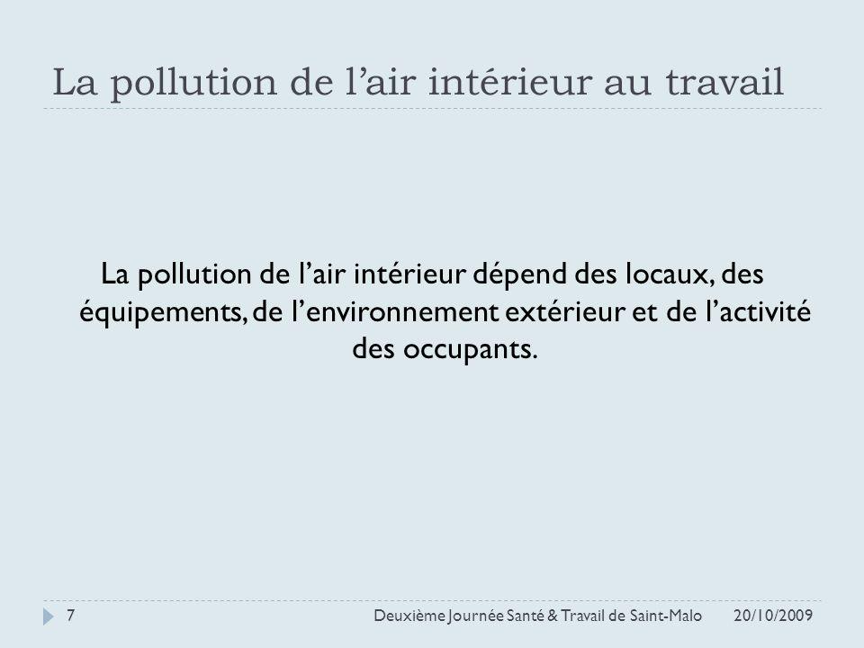 La pollution de l'air intérieur au travail