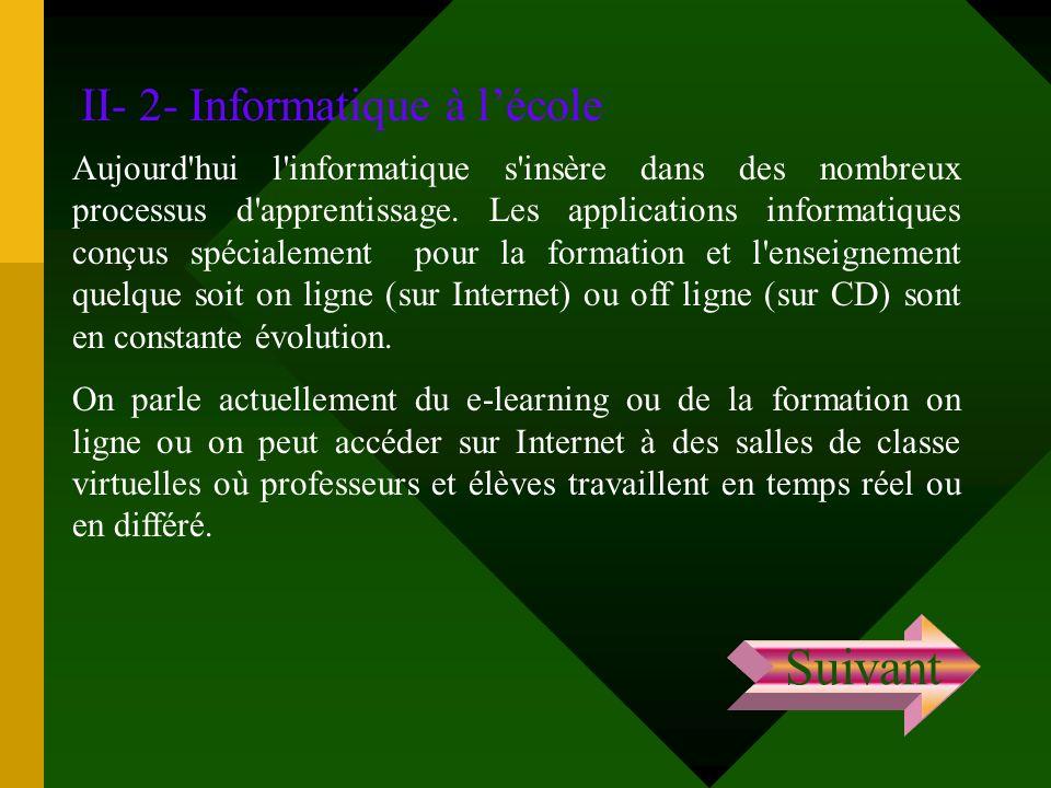 Suivant II- 2- Informatique à l'école