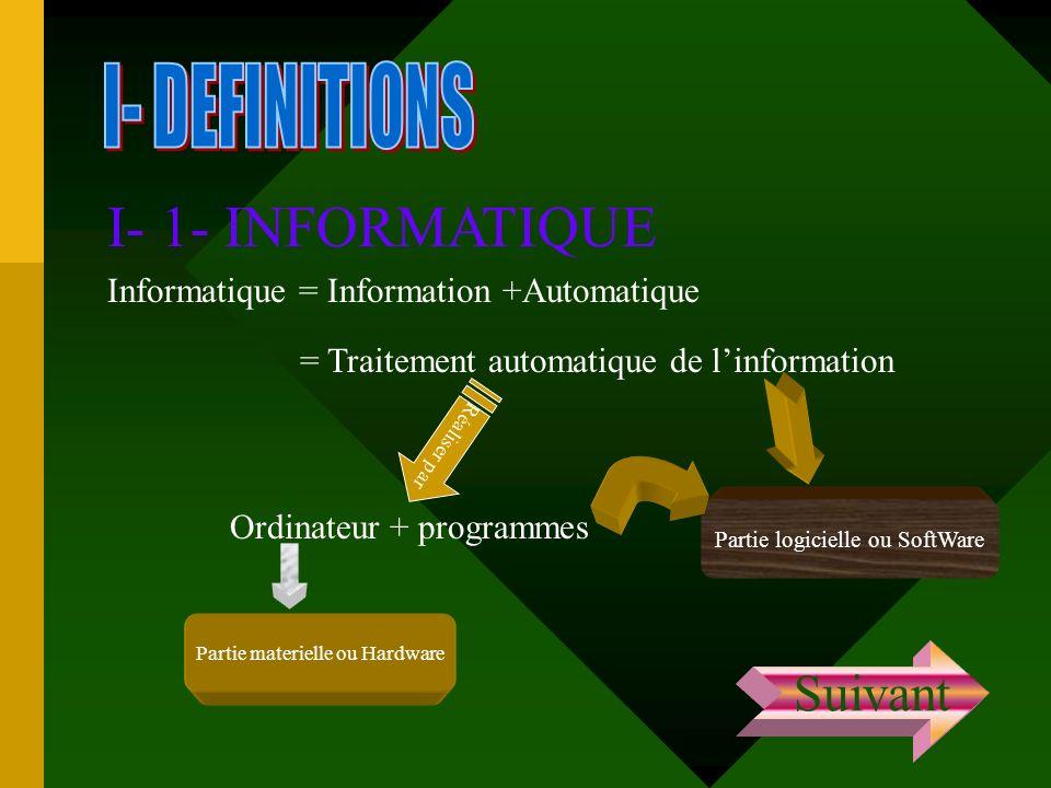 I- 1- INFORMATIQUE I- DEFINITIONS Suivant
